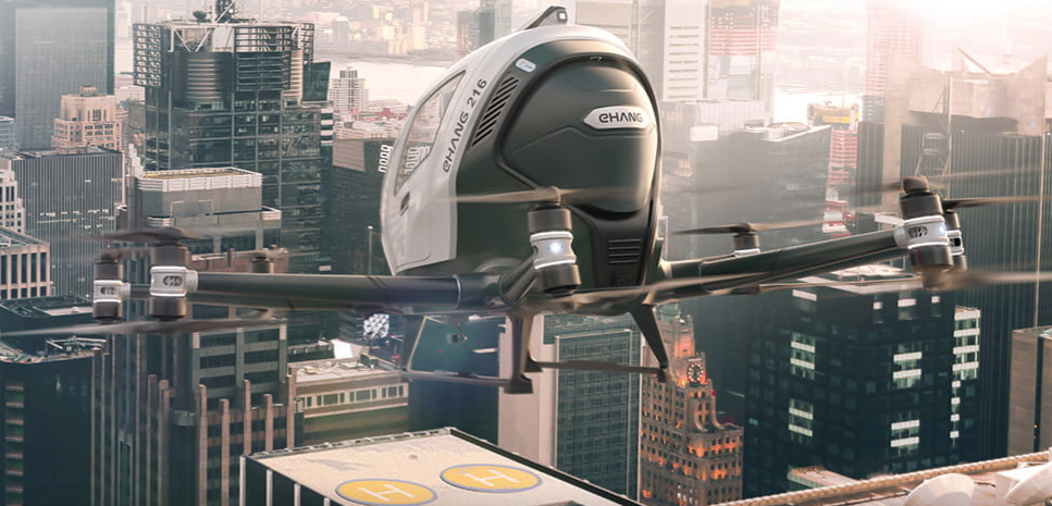 You will see Ehang aerotaxi for the first time in Spain